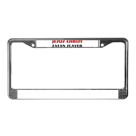 JESUS CHRIST SATAN SLAYER License Plate Frame