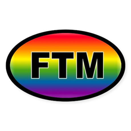 FTM rainbow Pride Oval Sticker