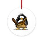 Caveman Penguin Ornament (Round)