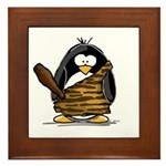 Caveman Penguin Framed Tile