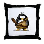 Caveman Penguin Throw Pillow