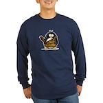 Caveman Penguin Long Sleeve Dark T-Shirt