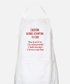 Caution: Blonde attempting to COOK  BBQ Apron