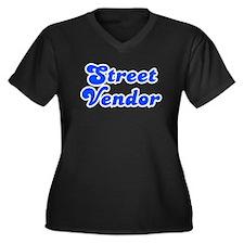 Retro Street vendor (Blue) Women's Plus Size V-Nec