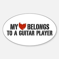 My Heart Belongs to a Guitar Player Oval Decal