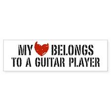 My Heart Belongs to a Guitar Player Car Sticker