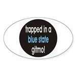 blue state gitmo Oval Sticker