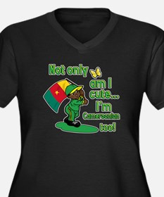 Cute and Cameroonian Women's Plus Size V-Neck Dark