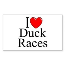 """I Love (Heart) Duck Races"" Rectangle Decal"