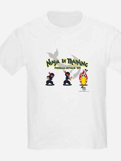 Ninja In Training: Fireball Attack Grey T-Shirt