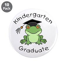 "Frog Kindergarten Graduate 3.5"" Button (10 pack)"