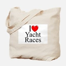 """I Love (Heart) Yacht Races"" Tote Bag"