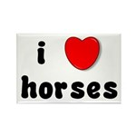 I Love Horses Rectangle Magnet (100 pack)