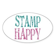 Stamp Happy Oval Decal