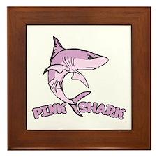 Pink shark Framed Tile