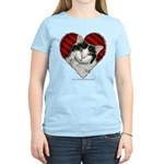 White-Black Cat Heart Women's Light T-Shirt