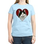 Long-Haired BW Cat Heart Women's Light T-Shirt