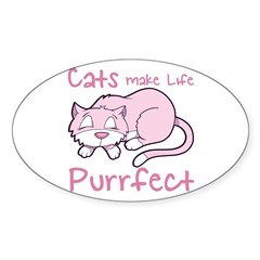 Purrfect Cat Oval Decal