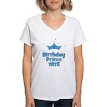 1st Birthday Prince Tate! Women's V-Neck T-Shirt
