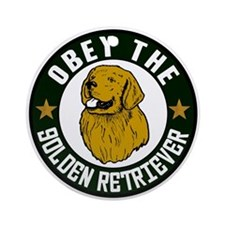 Obey The Golden Retriever Ornament (Round)