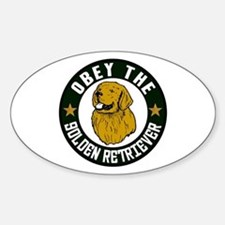 Obey The Golden Retriever Oval Decal