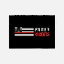 Firefighter: Proud Parents (Black) 5'x7'Area Rug