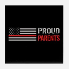 Firefighter: Proud Parents (Black) Tile Coaster