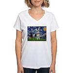 Starry Night /Schnauzer(#8) Women's V-Neck T-Shirt