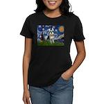 Starry Night /Schnauzer(#8) Women's Dark T-Shirt