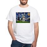 Starry Night /Schnauzer(#8) White T-Shirt