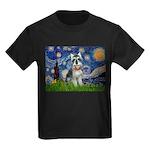 Starry Night /Schnauzer(#8) Kids Dark T-Shirt