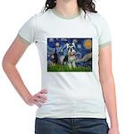 Starry Night /Schnauzer(#8) Jr. Ringer T-Shirt