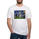Starry Night /Schnauzer(#8) Fitted T-Shirt