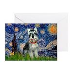 Starry Night /Schnauzer(#8) Greeting Cards (Pk of