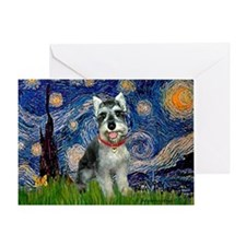 Starry Night /Schnauzer(#8) Greeting Card