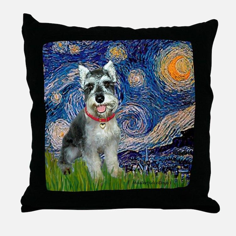 Starry Night /Schnauzer(#8) Throw Pillow