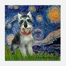Starry Night /Schnauzer(#8) Tile Coaster