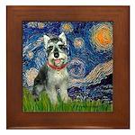 Starry Night /Schnauzer(#8) Framed Tile