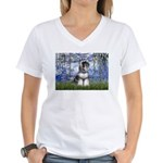 Lilies (#6) & Schnauzer #7 Women's V-Neck T-Shirt