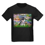 Lilies (#2)/Schnauzer Pup Kids Dark T-Shirt