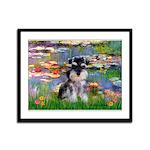 Lilies (#2)/Schnauzer Pup Framed Panel Print