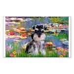 Lilies (#2)/Schnauzer Pup Sticker (Rectangle)