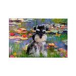 Lilies (#2)/Schnauzer Pup Rectangle Magnet (10 pac