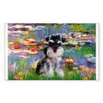 Lilies (#2)/Schnauzer Pup Sticker (Rectangle 50 pk