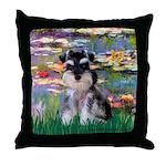 Lilies (#2)/Schnauzer Pup Throw Pillow