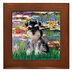 Lilies (#2)/Schnauzer Pup Framed Tile