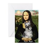 Mona Lisa's Schnauzer (#1) Greeting Cards (Pk of 2