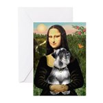 Mona Lisa's Schnauzer (#6) Greeting Cards (Pk of 1