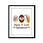 Peace Love Saxophone Sax Framed Panel Print