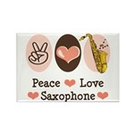 Peace Love Saxophone Sax Rectangle Magnet